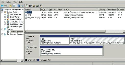 Конфигурация разделов жесткого диска для развертывания среды восстановления