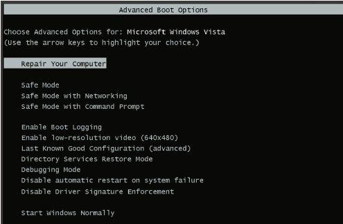 Дополнительный пункт Repair Your Computer вменю вариантов загрузки операционной системы
