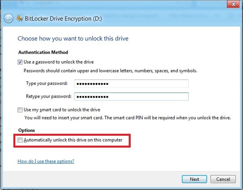 Выбор способа доступа к данному диску