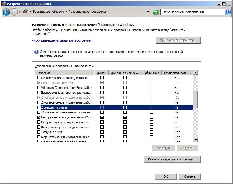 Правило разрешения подключения к удаленному рабочему столу в брандмауэре Windows