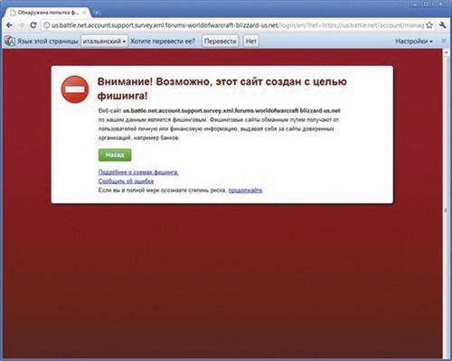 Предупреждение о фишинговом сайте в Google Chrome
