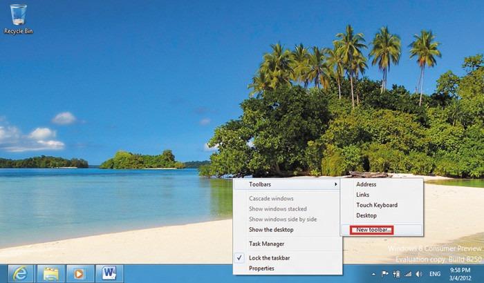 Вкладка Desktop Windows 8
