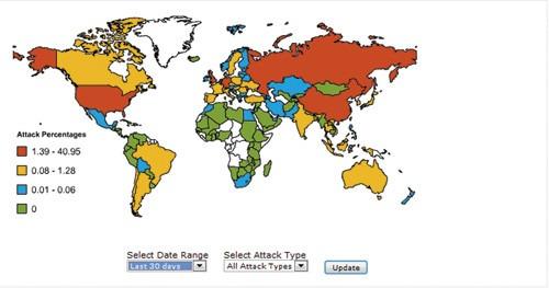Карта интернет-атак за апрель 2012 года