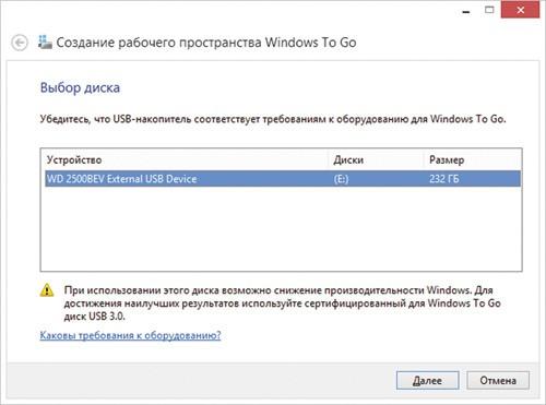 Создание рабочего пространства Windows To Go