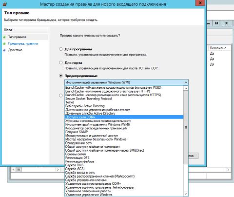 Выбор предопределенного правила брандмауэра Windows