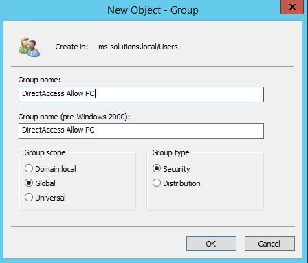 Создание группы безопасности в Active Directory