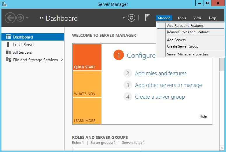 Добавление новой роли или фичи в Server Manager