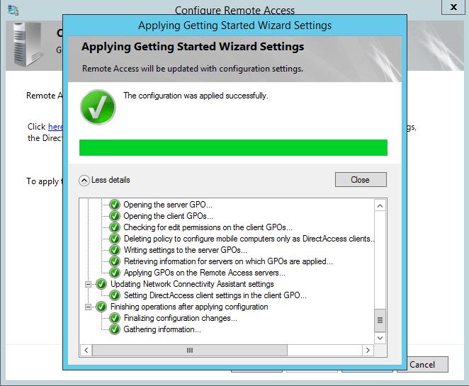 Применение настроек для конфигурирования DirectAccess