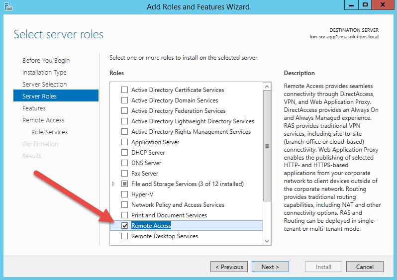 Установка роли RemoteAccess