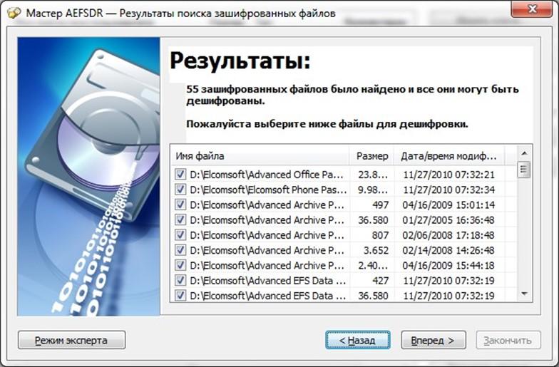 Результаты поиска зашифрованных файлов