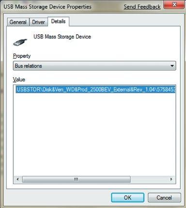 Экран 1. Свойства запоминающего устройства USB