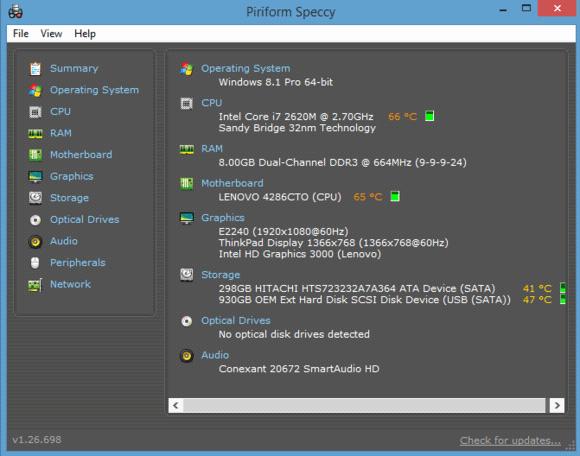Speccy работает под управлением Windows 8.1.